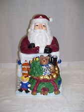 """Santa Claus With Bag of Toys Cookie Jar 13"""" Christmas Holiday Canister Ceramic"""
