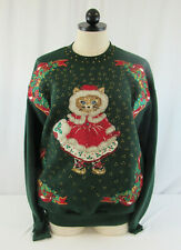 Vintage Jerzees Women's  Green Ugly Christmas Sweatshirt With Cat Size X-Large