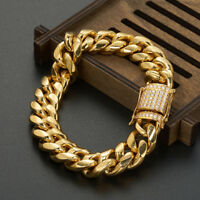 16mm width Men Boy's Heavy Wide Stainless Steel Gold Bracelet Rhinestone Clasp