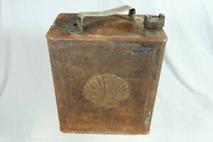 Vintage Shell Motor Oil Can 2 Gallon Petrol Brass BP Cap
