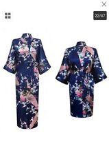silk satin kimono robe navy short bridesmaid robe standard size- 4 to sell!