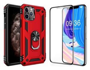 IPhone X Xs Xr Clear Glass Screen Protector/Heavy Duty Kickstand Cover Case RED