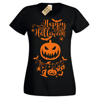 Happy Halloween T-Shirt pumpkin spooky Womens Ladies