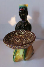 VINTAGE-DRIOLI - HAND PAINTED FIGURE DECANTER BOTTLE- ITALY- AFRICAN WOMAN-