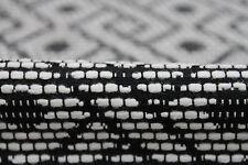 Light-Weight Slub Jacquard Geometric Coating Dress Fabric Material (Black/Cream)