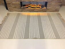 STRIPED NATURAL Cotton Jute Handloomed GREY CREAM Washable Rug Durrie S-L 40%OFF