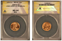 1956-D 1C WDMM-001 - Lines under 19 - ANACS MS64RD BU Lincoln Wheat Cent!!!