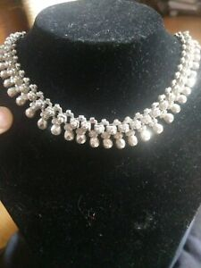 Heavy Choker Style Wide Sterling Silver Necklace Unique, 65 grams not scrap