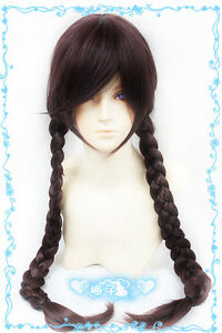 "74 Chestnut Brown 100cm/40"" Long Braided Cosplay Wig Free Wig Cap"