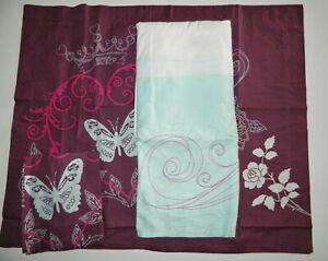 NWOT STUDIO 25 Queen Size DUST RUFFLE 2 Pillow Shams BUTTERFLY Plum Aqua Color
