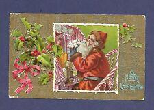 Antique Postcard Merry Christmas Santa Claus Candlestick Telephone Desk