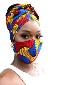 African Print Head wrap set, Ankara wrap and Mask