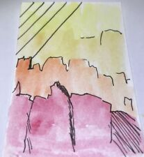 """ARTISANS GALLERY- """"The Ridge """" by Alp3- ACEO Watercolor Abstract Painting Art"""