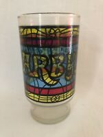 """Vintage Arby's Stained Glass Hi Ball Drinking Glass 5"""""""