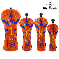 Big Teeth Golf Club Covers for Driver/Fairway Woods Headcover/Hybrid Rock Style