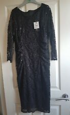 Beautiful black lace sequinned occasion dress. size 14. Debenhams. Cost £55