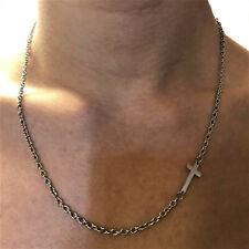Collana con croce in acciaio uomo catena twister catenina inox crofisso rosario