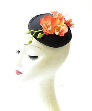 Noir Orange Fleur Orchidée Bandeau De Bibi Hat Courses Vtg Rockabilly 1537