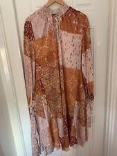 Zara Orange Patchwork Midi Dress Size M