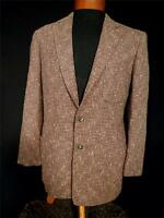 VINTAGE 1950'S BROWN , BLACK & WHITE WOVEN TWEED SALT & PEPPER JACKET SIZE 40