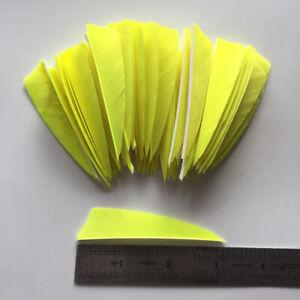 50PCS 3inch Fluorescent Yellow Shield Archery Fletches Feathers Fletching RW LW