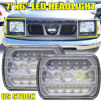 For Nissan Pickup 240SX Sentra Stanza Pair 7''x6'' LED DRL Headlight Hi-Lo Beam