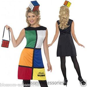 CL191 Ladies Rubik's Cube Costume Fancy Dress 80's Costume Rubix Cube + Headband