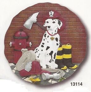 Fireman Dalmation Resin Stepping Stone Wall Plaque, NIB [13114] OoP Spoontiques