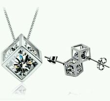 CRYSTAL NECKLACE AND EARRING SET silver CUBE WEDDING BIRTHDAY  bridesmaids 242