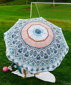 """LUVUP Well-Built Wanderlust Umbrella Beach & Field 7'x 5"""" Tall w/ Bag"""