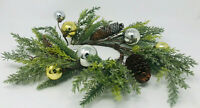Bath Body Works 3 wick candle ring holder SILVER GOLD ornaments pinecone wreath