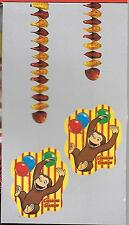 Curious George Monkey Happy Birthday Party Hanging Decorations - New In Package