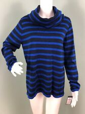 NWT Womens Polo Golf Ralph Lauren Navy Blue/Blue Striped Cowl Sweater Sz L Large