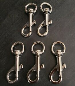 5X - 45mm Nickel Plated Small Trigger Hook - Pet Lead - Key Ring - Swivel Clasp