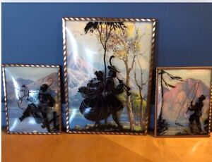 3 vintage silhouette pictures reversed painted convex glass.