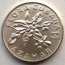 1981 Flower Azahar 5 Pesos Silver Coin,UNC