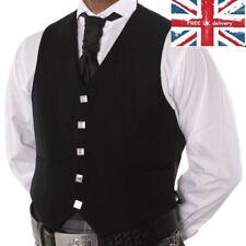 100% WOOL 5 BUTTON BLACK WAISTCOAT SCOTTISH , ARGYLE KILT/WEDDING. Best Jacket