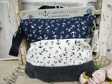 Tasche Stoff Umhängetasche Baumwolle Wasserabweisend Schultertasche Anker blau