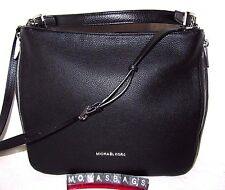 Michael Kors Essex Extra Large Black Silver Leather Top Zip Shoulder Bag NWT$368