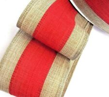 "Lot-2 YDS 2.5"" Wire edge Red &Tan Stripe.Linen-Look Ribbon Very NICE"