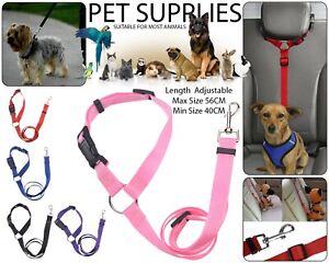 Adjustable Pet Dog Car Seat Belt Puppy Lead Travel Harness Leash Safety Clip UK