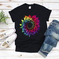 Tie Dye Sunflowers Rainbow Women Gildan Vintage Cotton Black T-Shirt Size S-5XL