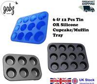GABZ 12 & 6 Large Muffin Cupcake Tin OR Silicone Tray Mould Baking Bakeware Tray