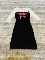 Betsey Johnson Medium Intarsia Runway Pink Bow Black PinUp Bodycon Sweater Dress