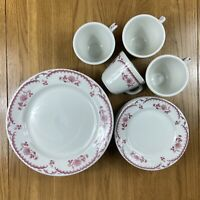 Shenango China Restaurant Ware 12-Piece Set Chardon Rose Red Vintage Rare USA B