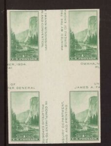 United States 1935 Park green 1c block mint ,no gum stamps