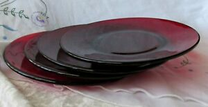 "Vtg Royal Ruby Red Depression Glass 6 1/4"" bread butter plates LOT of 4 Anchor"