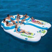 Huge Inflatable Floating Island 7 Person Raft Lake Float Cooler Tropical Tahiti