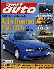 sport auto 3/02 2002 Alfa 156 GTA BMW Z8 SL 55 AMG MG TF 160 Impreza GT Turbo