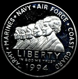 1994 P Proof Military Women Commemorative 90% Silver Dollar $1 Coin Free Ship.